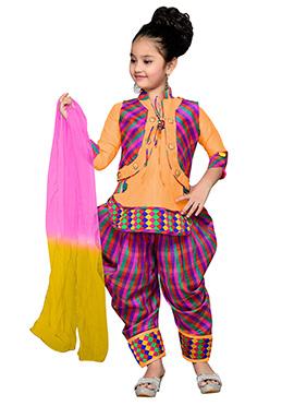 Mustard N Pink Teens Jacket Style Patiala Suit