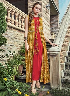 Mustard N Red Art Silk Dress