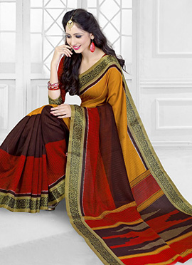 Mustard N Red Art Silk Saree