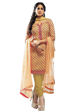 Mustard N Red Blended Cotton Churidar Suit