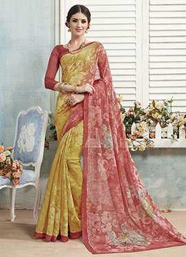 Mustard N Rust Ombre Bhagalpuri Khadi Silk Printed Saree