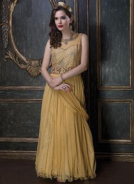 Mustard Net Draped Gowns