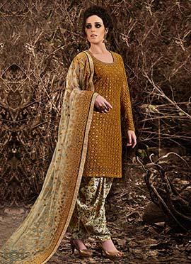 Mustard Net Patiala Suit