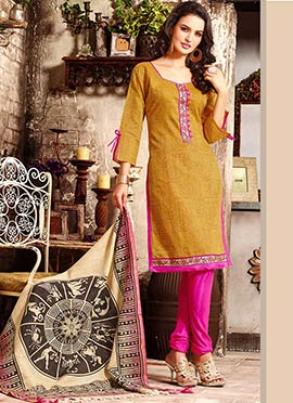 Mustard Printed Churidar Suit