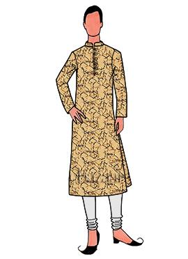 Mustard Printed Cotton Linen Kurta Pyjama