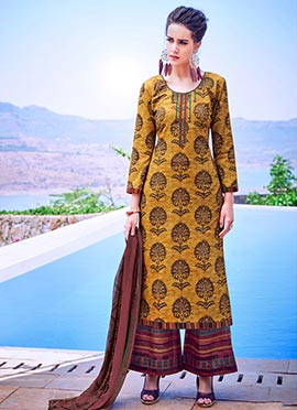 Mustard Printed Palazzo Suit