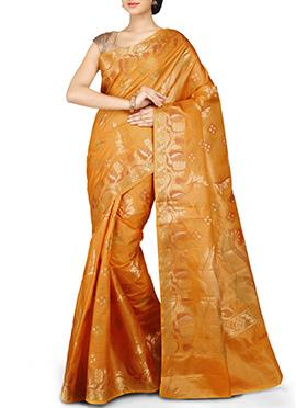 Mustard Pure Silk Zari N Resham Weaved Saree