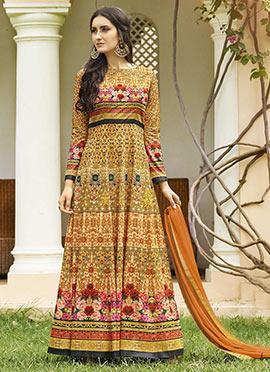 Mustard Yellow Art Silk Abaya Style Anarkali Suit