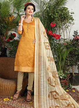 Mustard Yellow Art Silk Churidar Suit