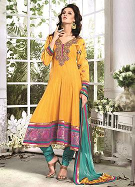 Mustard Yellow Art Silk Cotton Anarkali Suit
