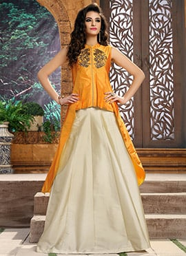 Mustard Yellow Art Silk Indo Western Suit