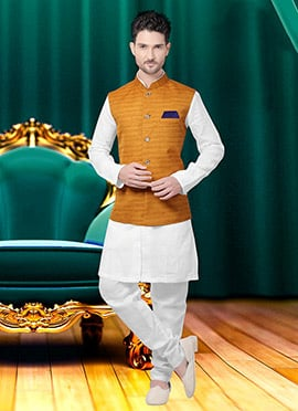 Mustard Yellow Art Silk Nehru Jacket