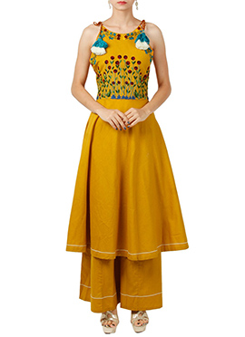 Mustard Yellow Art Silk Palazzo Set