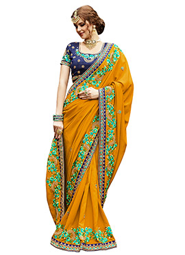Mustard yellow Art Silk Saree