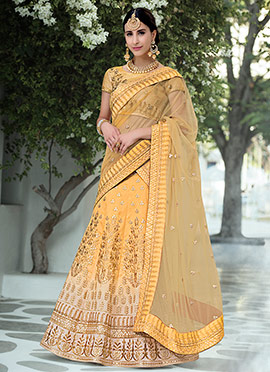 Mustard Yellow Art Silk Umbrella Lehenga
