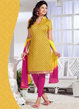 Mustard Yellow Benarasi Art Silk Churidar Suit