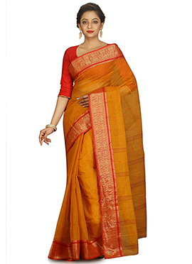 Mustard Yellow Bengal Handloom Tant Saree