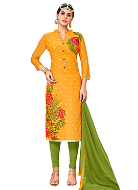 Mustard Yellow Chanderi Cotton Churidhar Suit