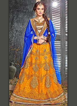 Mustard Yellow Embroidered A Line Lehenga Choli