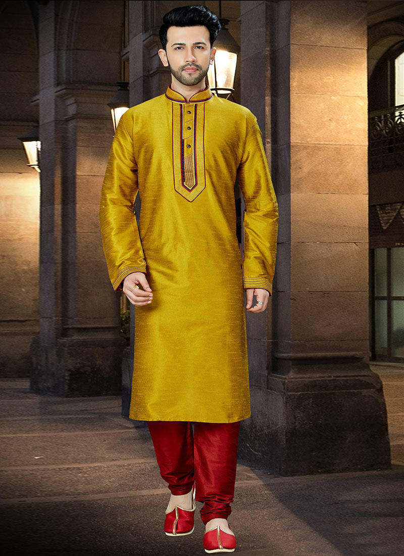 895d029238 Buy Mustard Yellow Embroidered Kurta Pyjama, Embroidered ...