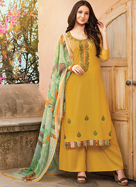 Mustard Yellow Embroidered Palazzo Suit