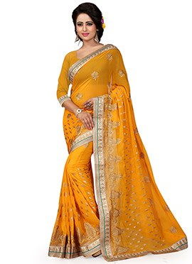 Mustard Yellow Georgette Embroidered Saree