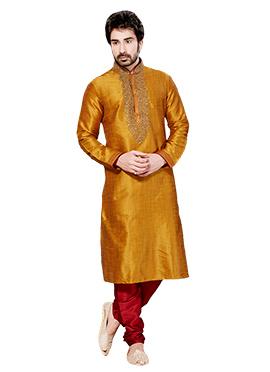 Mustard Yellow Ghicha Silk Kurta Pyjama