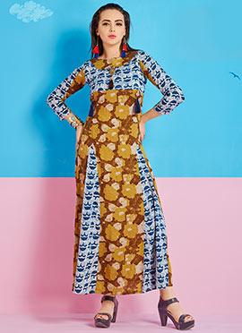 Mustard Yellow N Blue Cotton Rayon Dress