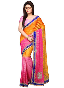Mustard Yellow N Pink Ombre Brasso Saree