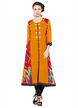 Orange N Red Georgette Anarkali Kurti