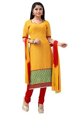 Mustard Yellow Net Churidar Suit