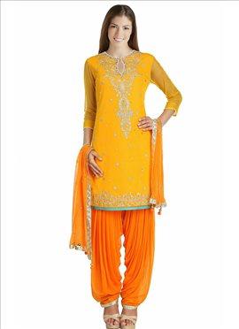 Mustard Yellow Net Semi Patiala Suit