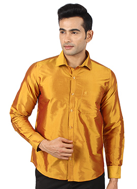 Mustard Yellow Pure Raw Silk Shirt