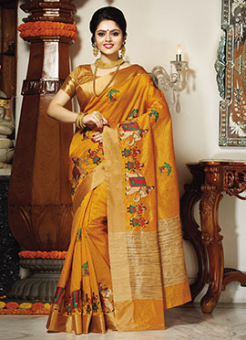 Mustard Yellow Tussar Silk Saree