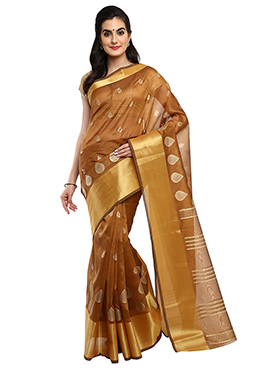 Mysore Blended Cotton Brown Saree