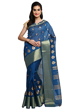 Mysore Blended Cotton Denim Blue Saree