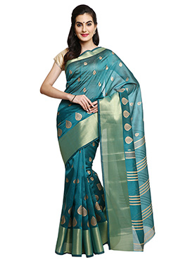 Mysore Blended Cotton Teal Blue Saree