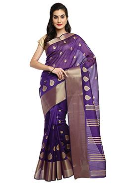 Mysore Blended Cotton Violet Saree