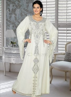 Mystical Off White Georgette Fustan