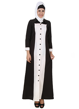 Naazneen Black N White Front Open Abaya