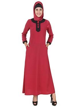 Nagheen Red Crepe Abaya