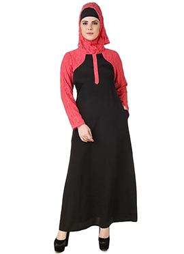 Nailah Black N Pink Crepe N Net Abaya