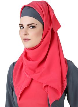 Najmah Reddish Pink Crepe Hijab