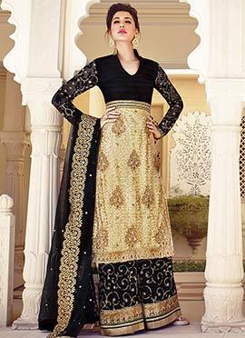 Nargis Fakhri Beige N Black Palazzo Suit