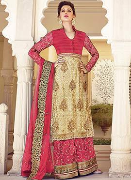 Nargis Fakhri Beige N Coral Pink Palazzo Suit