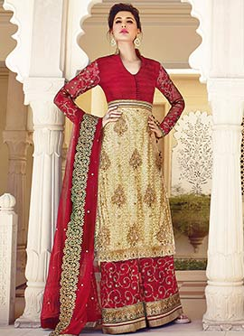 Nargis Fakhri Beige N Regal Red Palazzo Suit