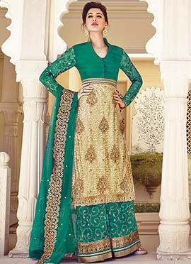 Nargis Fakhri Beige N Turquoise Green Palazzo Suit