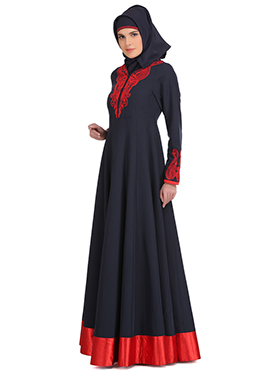 Nasira Navy Blue Polyester N Red Satin Abaya