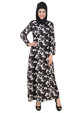 Nasra Printed Crepe Black N White Abaya