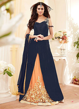 Navy Blue A Line Long Choli Lehenga